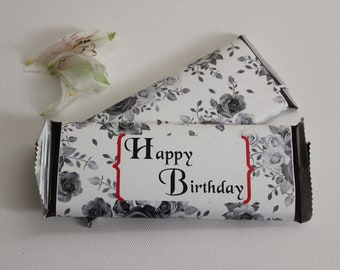 Set of 12 Custom Happy Birthday Candy Wrappers- Black & White Wrappers for 1.55 oz Bars- Customized for Any Occasion- Party Favors