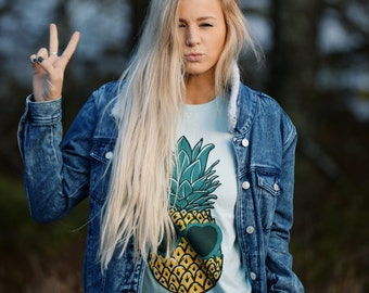 Womens Boho PINEAPPLE Sunglasses Shirt, Pineapple Shirt, Trendy Tumblr Shirt Tee Top Bohemian Vintage Retro Cotton Short Sleeve Tshirt