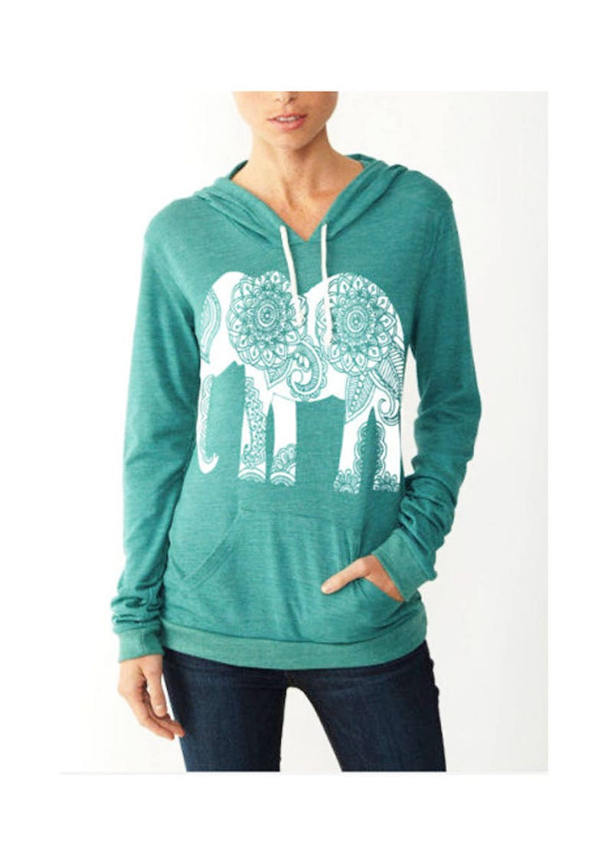 11ef8e196 Womens Paisley ELEPHANT Hoodie Tshirt Lightweight Sweatshirt