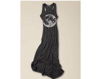Womens Boho MOON DRESS, Maxi Dress with Bohemian Print, Full Length in Navy, Gray or Black