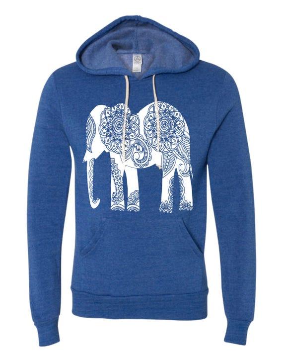 f933bf964 Womens Paisley ELEPHANT Christmas Gift Hoodie Sweatshirt