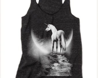 Womens UNICORN MOON Tank Top Bohemian Boho Southwest Desert Tri Blend Tank Top American Apparel 4 Colors Small Medium Large XLarge Racerback