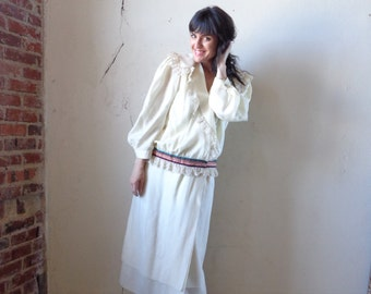 baggy blouse and skirt set/ ivory silk wool blend/ Norma Walters & Co// med