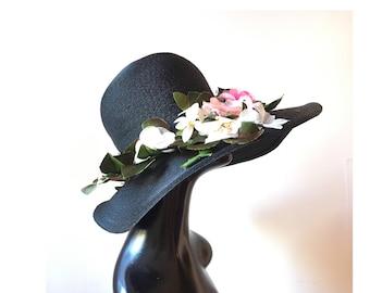 60s black wide brim hat with flowers