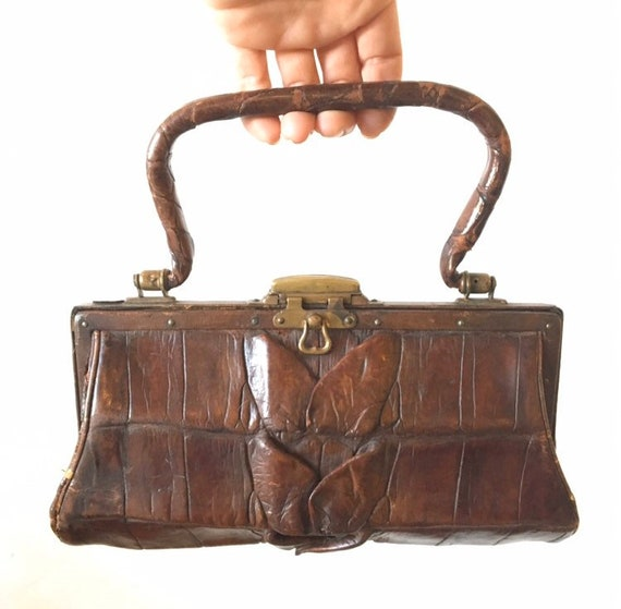 Petite Antique alligator handbag tiny purse late 1