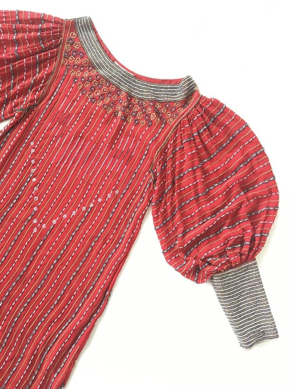 Vintage 70s Sister Max designer red silk heavily b