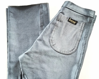 Vintage 1970s fredericks of hollywood disco pants silver gray spandex stretch pants size 0 XS
