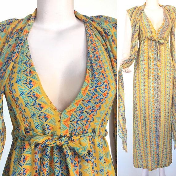 Stephen Burrows Silk Maxi Dress novelty print scar