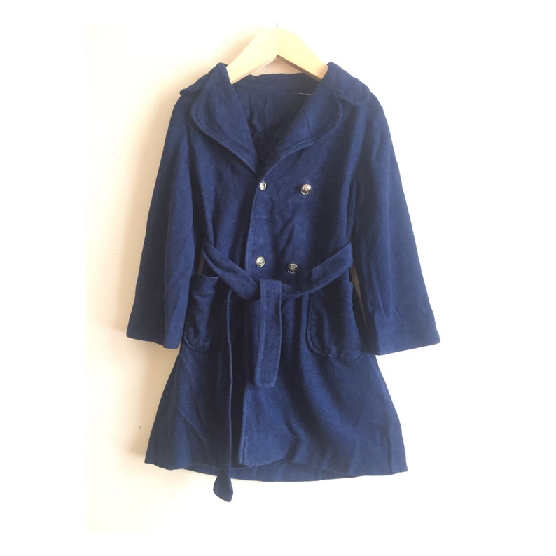 Vintage 1970s double breasted pea coat terry robe 2T to 4T toddlers bath robe childs house coat navy blue terry robe for kids