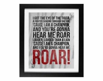 Roar by Katy Perry | Song Lyric Digital Printable - Instant Download