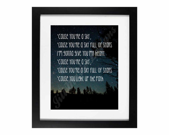 Sky Full of Stars by Coldplay | Song Lyric Digital Printable: INSTANT  DOWNLOAD