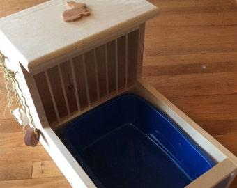 Bunny Rabbit Hay Feeder With Built in Litter Box-dowel model