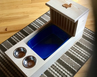 Bunny Rabbit Hay Feeder With Built in Litter Box and Food and Water Bowls-dowel model