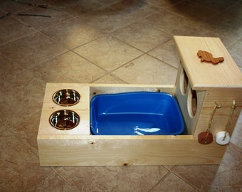 Bunny Rabbit Hay Feeder With Built in Litter Box and Food and Water Bowls