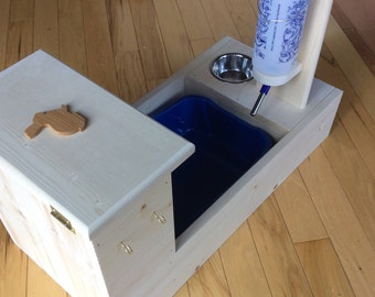 Bunny Rabbit Hay Feeder With Built in Litter Box, water bottle & food bowl