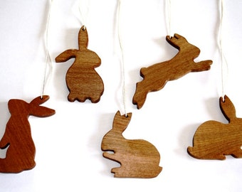 Bunny Rabbit Ornaments - Hand Carved From Solid Hardwood - Set of 5