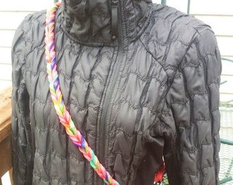 Convertible Fully braided leash, Pink and Tie Dye, Double snaps and floating ring, European Style Lead