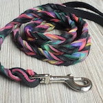 Braided Bullhide lead, Black, tie dye, leather, handmade leash