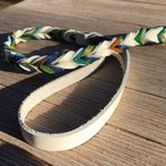 Braided Bullhide lead, White, tie dye, leather, handmade leash