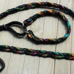 Leather Agility Lead, Leash for Dog,  Agility,  Martingale Leash, Tie Dye and Black