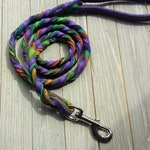 Braided Bullhide lead, Purple, tie dye, leather, handmade leash