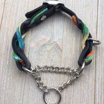 "Leather Martingale, Braided Leather Martingale, Custom Leather Dog Collar, 5/8"" wide."