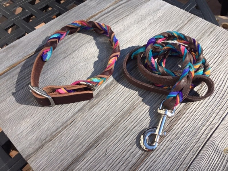 Brown Leather 34 Wide Collar AND Leash Artsy collar and leash Braided Custom Leather Dog Collar and Lead
