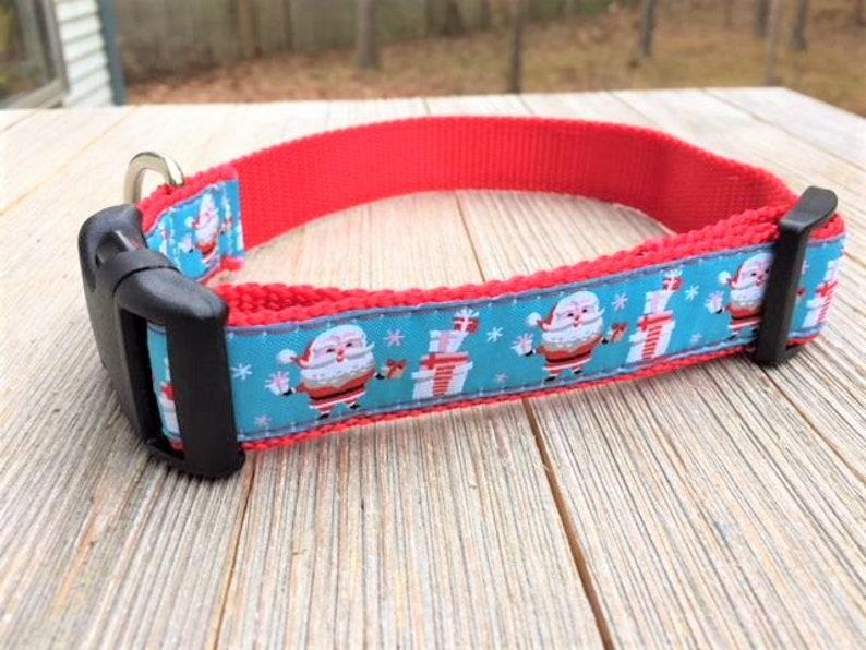 1 Wide Adjustable Dog Collar Santa Claus Presents image 0