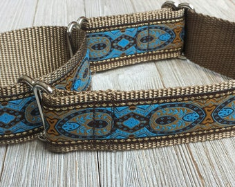"1.5"" Wide Martingale Collar, Paisley Turquoise and Gold"
