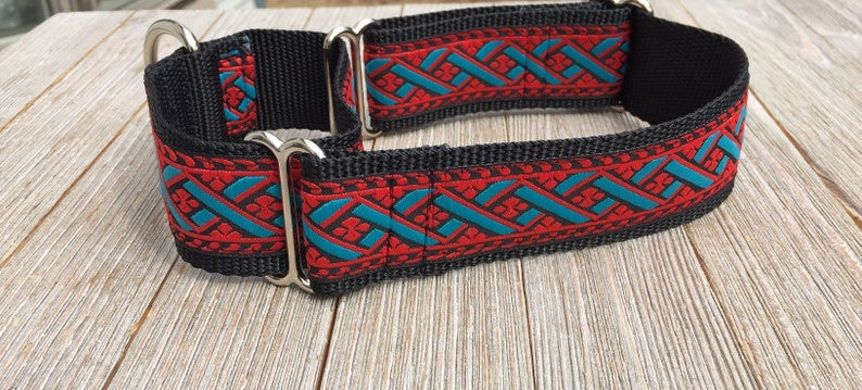 1 1/2 Wide Jacquard Martingale Collar turquoise and red image 0