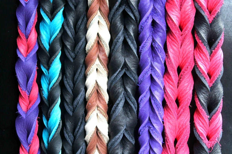 Braided Bullhide lead 4 foot long leather handmade leash image 0