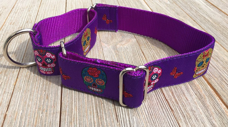 1 1/2 Wide Jacquard Martingale Collar Sugar Skulls Day image 0