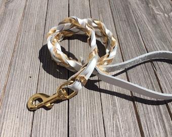 Leather AGILITY Lead,  White and Gold, Leash for Dog Agility,  Martingale Leash,