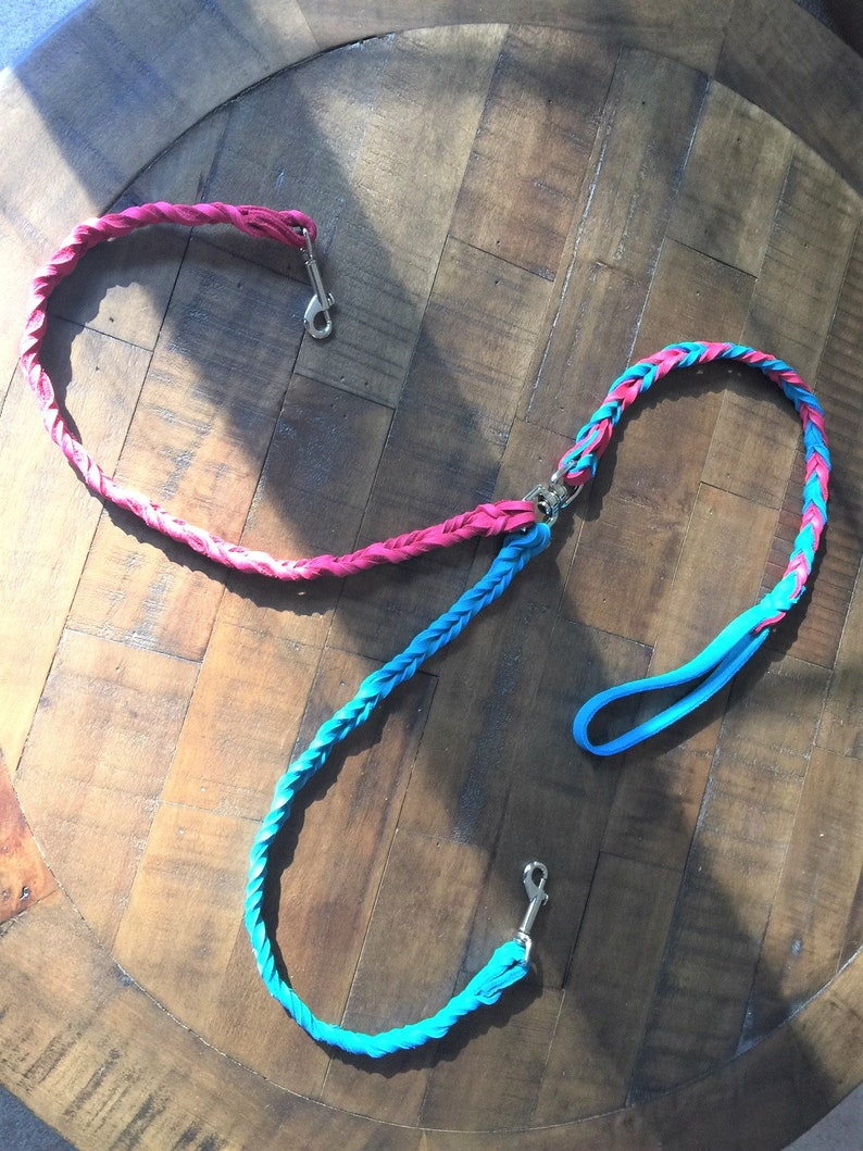 Braided Bullhide Coupler Turquoise and Pink Walk two dogs image 0