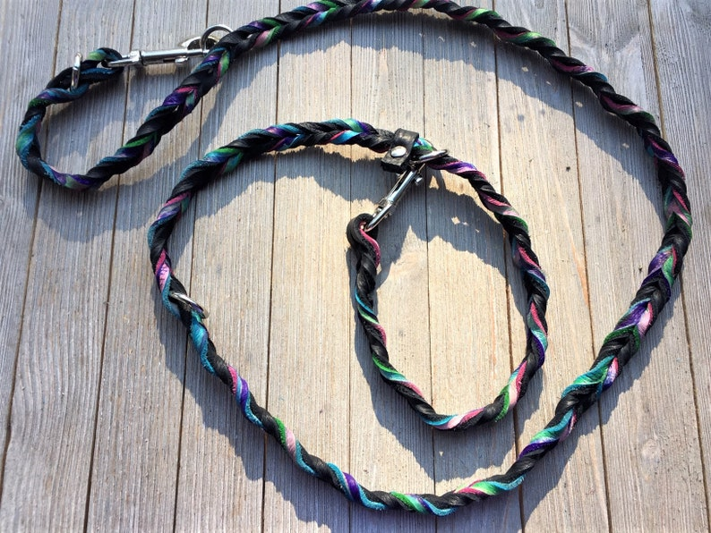 The Johnnie Leash Braided Bullhide lead Black tie dye image 0