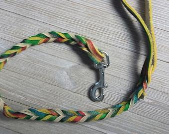 Braided Bullhide lead, Green, tie dye, leather, handmade leash