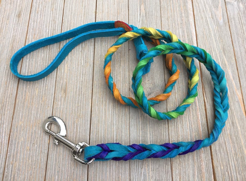 Braided Bullhide lead The Vanessa Ombre leather handmade image 0