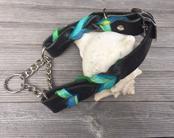 """Leather Martingale, Braided Leather Martingale, Custom Leather Dog Collar, 1"""", 3/4"""", 5/8"""" wide."""