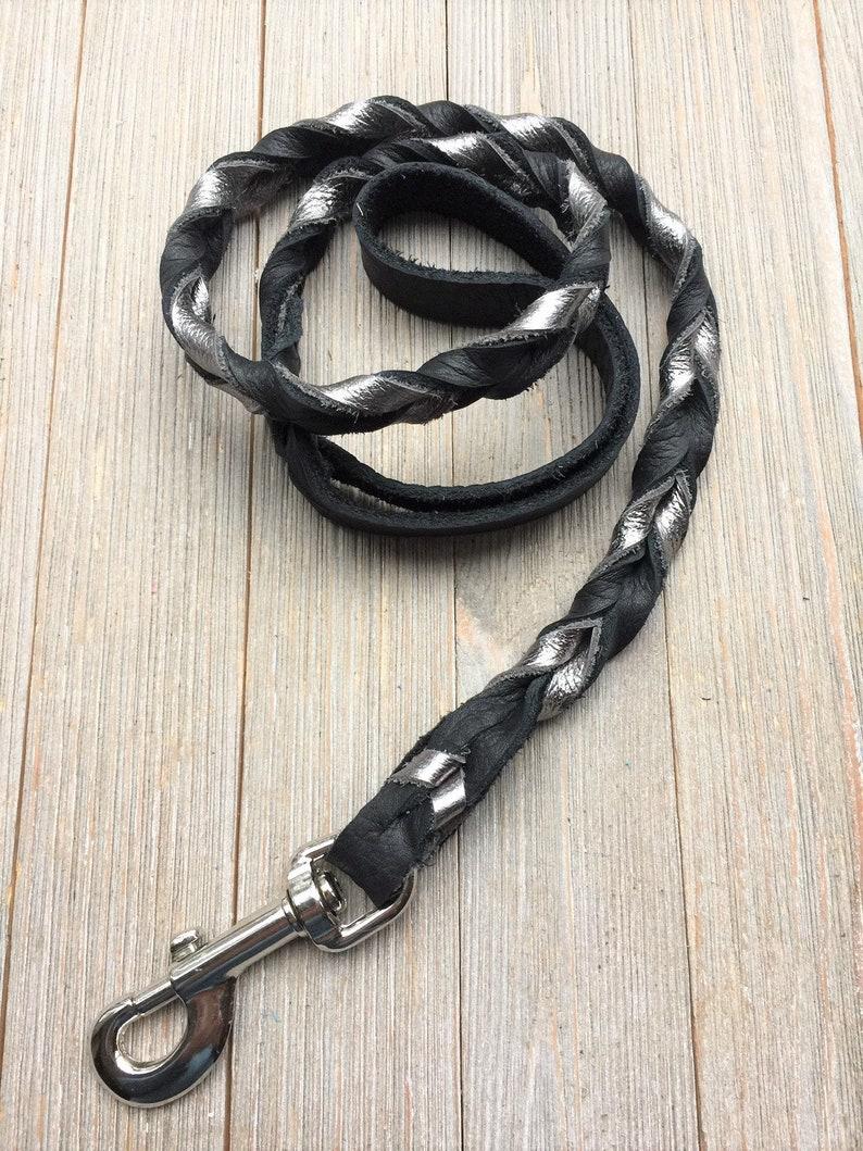 Braided leash Gun Metal and Black Braided Leather Leash image 0