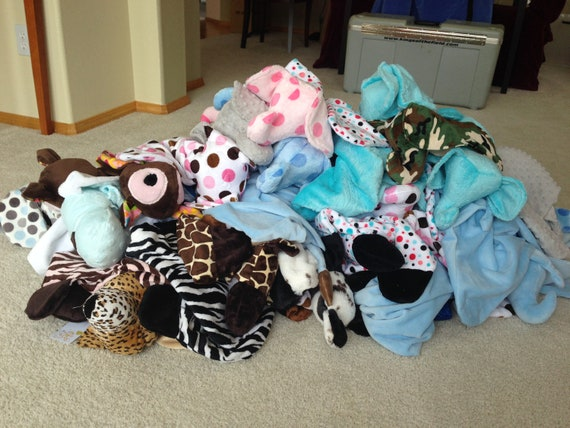 Elephant dogs cows sculptured with animal head Minky Snuggle Blanket Toy animal security blanket buddy frogs,giraffes,lions