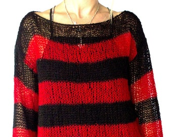 f3a77fea1b Red Black Striped Oversized Mohair Sweater