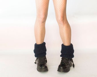 80s Leg Warmers  _  Mohair Leg Warmers _ Womens Leg Warmers in Dark Blue _ Mohair Boot Cuffs _ Gift for Yoga Classmate _ Sister in Law Gift