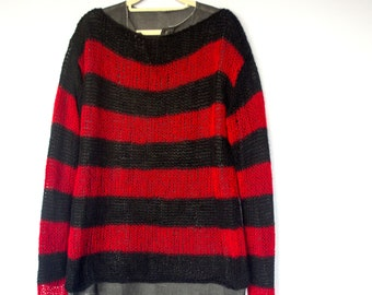 Light ahd fluffy mens soft mohair black and white striped sweater