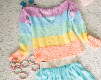 Striped Sweater V Neck Pastel Sweater by myAqua Pastel Rainbow Fairy Kei Jumper with Long Sleeves Womens Spiritual Sweater Chakra Colors