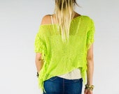 Fringe Shirt, Short Sleeve, Bright Neon Color Disco Tee, Boho Chic, Off one Shoulder, Lime Green, Casual Chic Clothing for Women, by myAqua