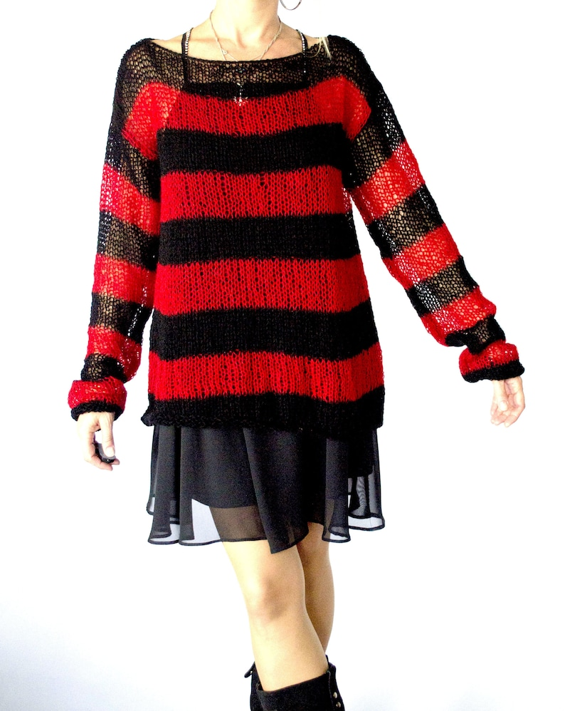 2af0bba1d Red and Black Striped Baggy Sweater 90s Grunge Clothing
