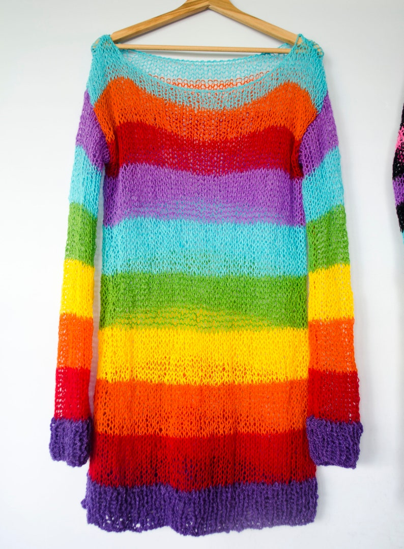 Striped Tunic Oversized by myAqua Long Sleeve Hand Knitted Jumper NuGoth Clothing Punk Rainbow Hippie Mohair Pullover Rainbow Sweater