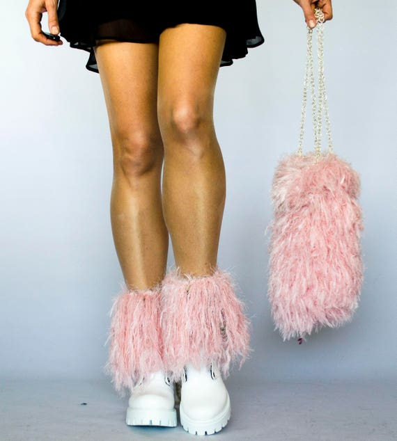 a3e41a16e4 Pink Furry Boot Cuffs Fringed Boot Topper Legwarmers Ankle