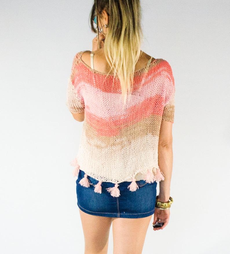 d5960a5e4db04 Cropped Fringe Top Women's Short Sleeve Sweater Boho | Etsy