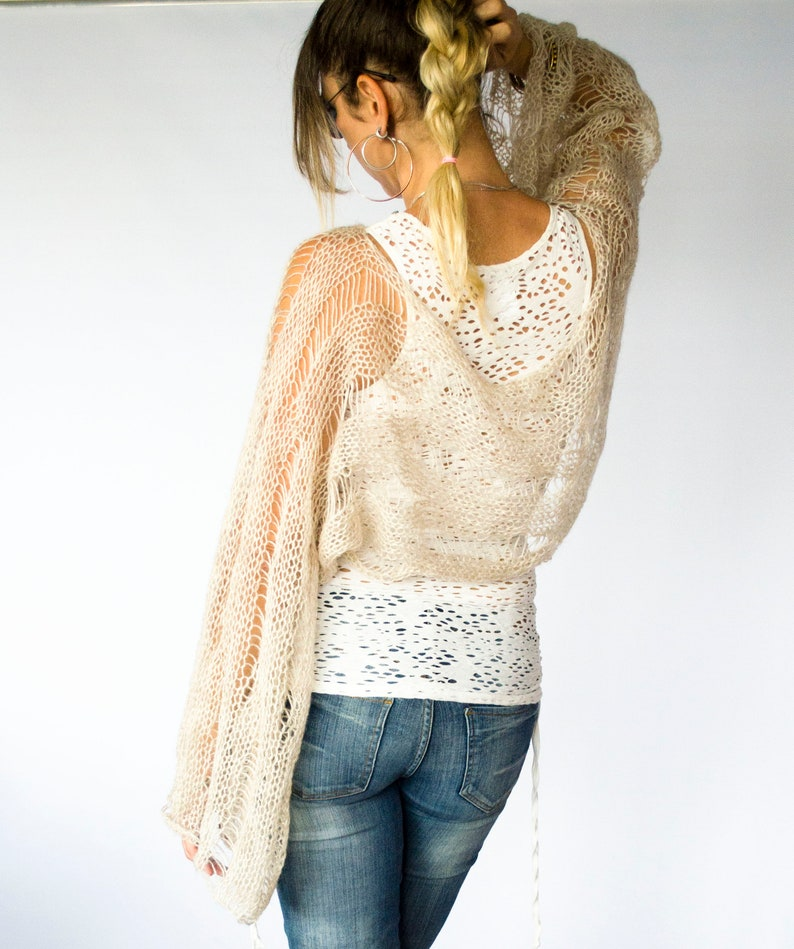 Long Sleeve Crop Top  by myAqua See Through Mohair Cardigan Boho Knit Top with Bell Sleeves in Ecru Color Hand Knit Shrug Sweater